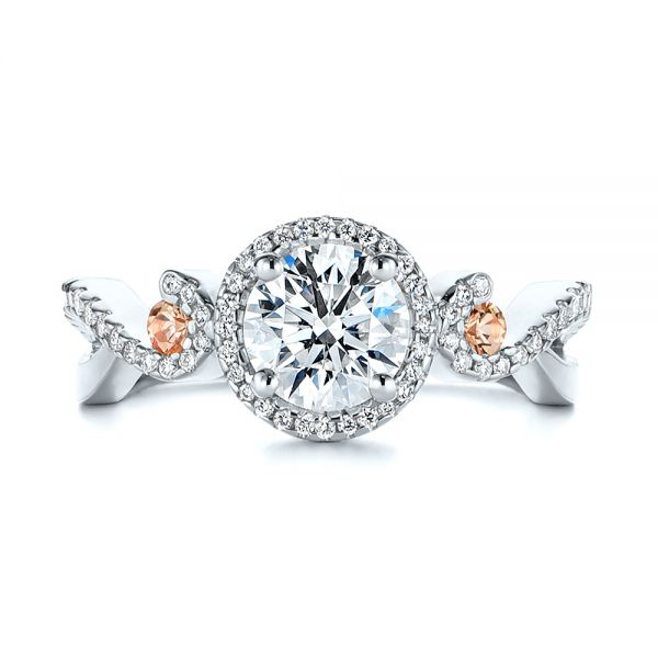Platinum Platinum Champagne Sapphire And Diamond Halo Engagement Ring - Top View -  105286