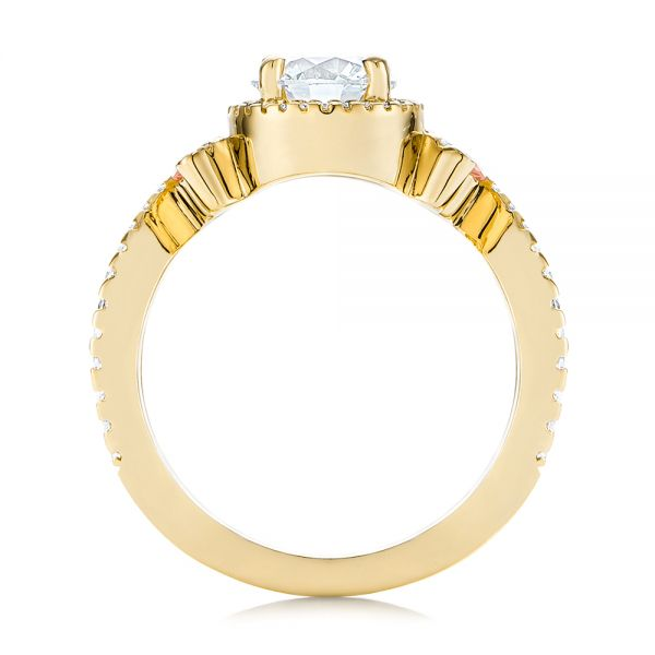 18k Yellow Gold 18k Yellow Gold Champagne Sapphire And Diamond Halo Engagement Ring - Front View -  105286