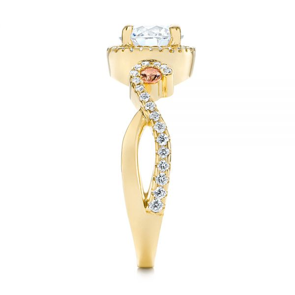 18k Yellow Gold 18k Yellow Gold Champagne Sapphire And Diamond Halo Engagement Ring - Side View -  105286
