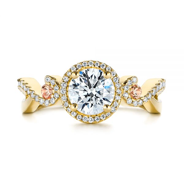 18k Yellow Gold 18k Yellow Gold Champagne Sapphire And Diamond Halo Engagement Ring - Top View -  105286