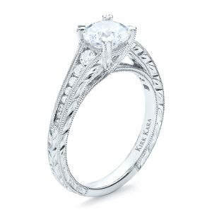 Channel Set Diamond Engagement Ring with Matching Wedding Band- Kirk Kara - Image