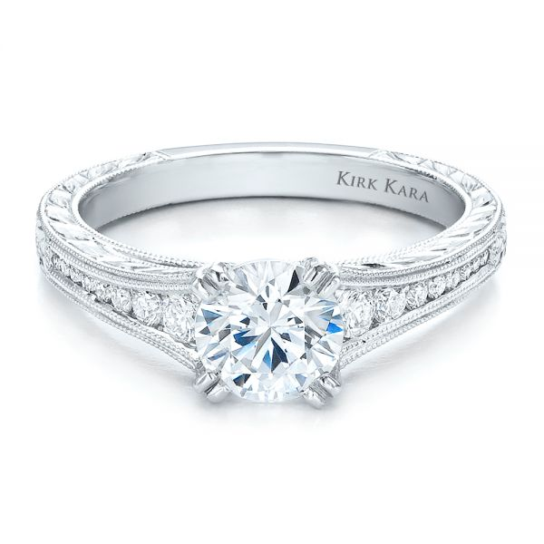 Channel Set Diamond Engagement Ring With Matching Wedding Band- Kirk Kara - Flat View -  100193