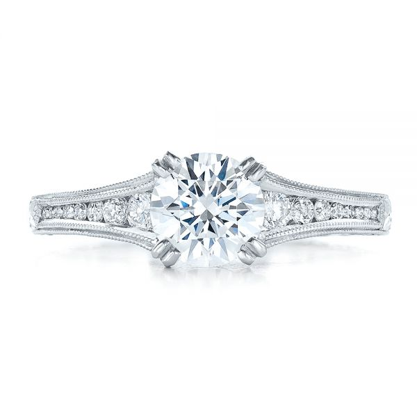 Channel Set Diamond Engagement Ring With Matching Wedding Band- Kirk Kara - Top View -  100193