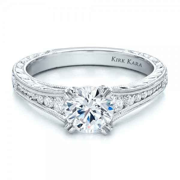side stone round hand channel solitaire on rings engagement band set ring
