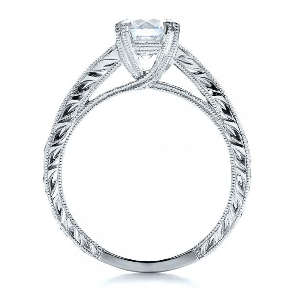 Channel Set Diamond Engagement Ring with Matching Wedding Band- Kirk Kara - Finger Through View