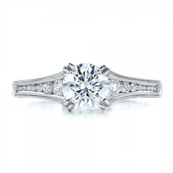 Channel Set Diamond Engagement Ring with Matching Wedding Band- Kirk Kara