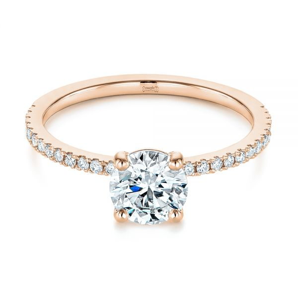 14k Rose Gold 14k Rose Gold Classic Diamond Engagement Ring - Flat View -