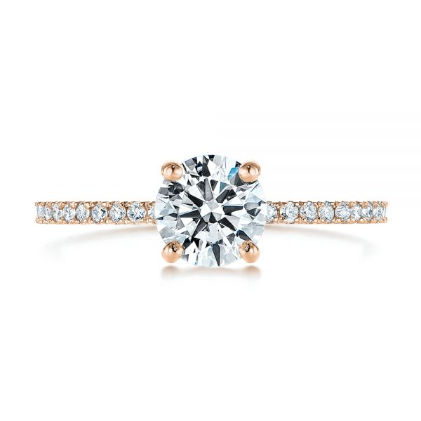 14k Rose Gold 14k Rose Gold Classic Diamond Engagement Ring - Top View -  105747 - Thumbnail