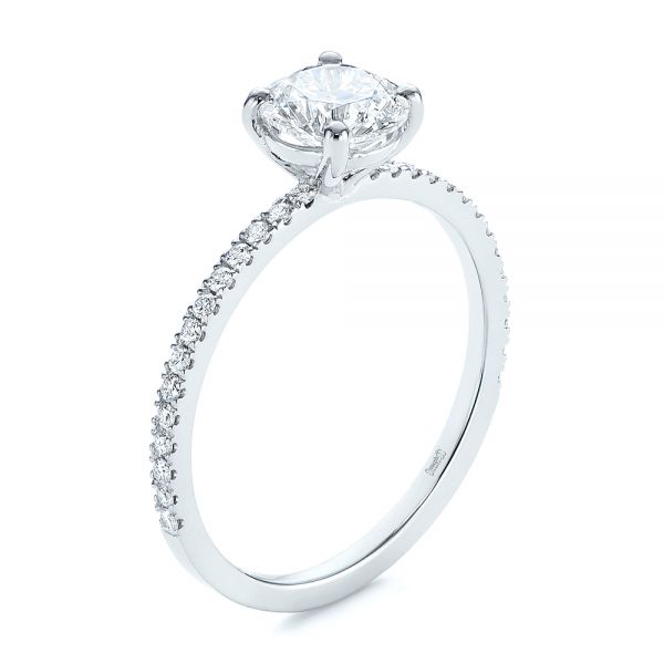 Platinum Classic Diamond Engagement Ring - Three-Quarter View -