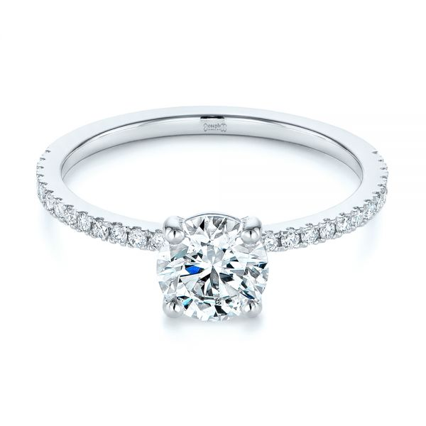Platinum Classic Diamond Engagement Ring - Flat View -  105747 - Thumbnail