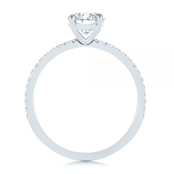 Platinum Classic Diamond Engagement Ring - Front View -  105747 - Thumbnail