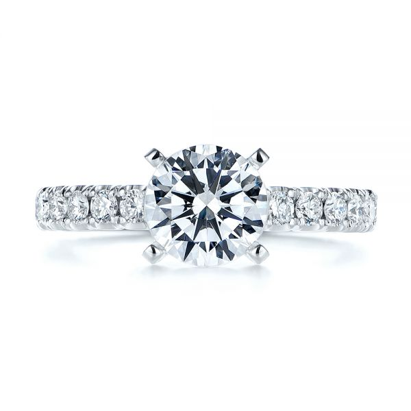 18k White Gold Classic Diamond Engagement Ring - Top View -  105320 - Thumbnail