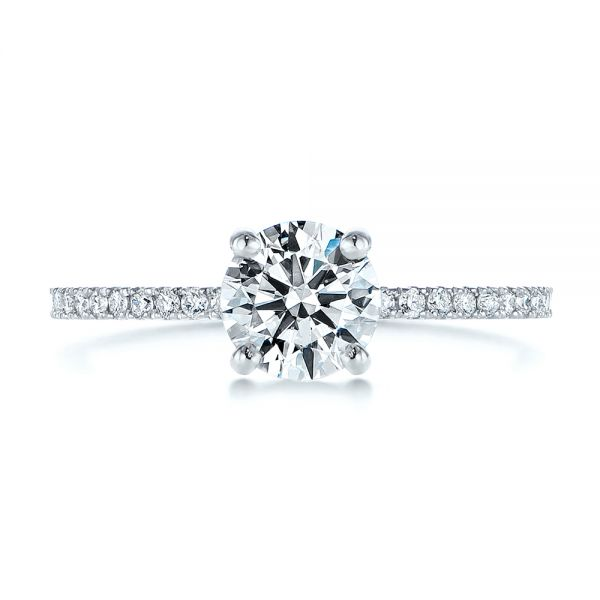 Platinum Classic Diamond Engagement Ring - Top View -  105747 - Thumbnail