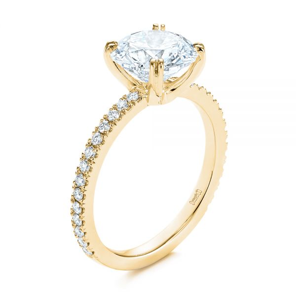 14k Yellow Gold 14k Yellow Gold Classic Double Claw Prong Diamond Engagement Ring - Three-Quarter View -  105847