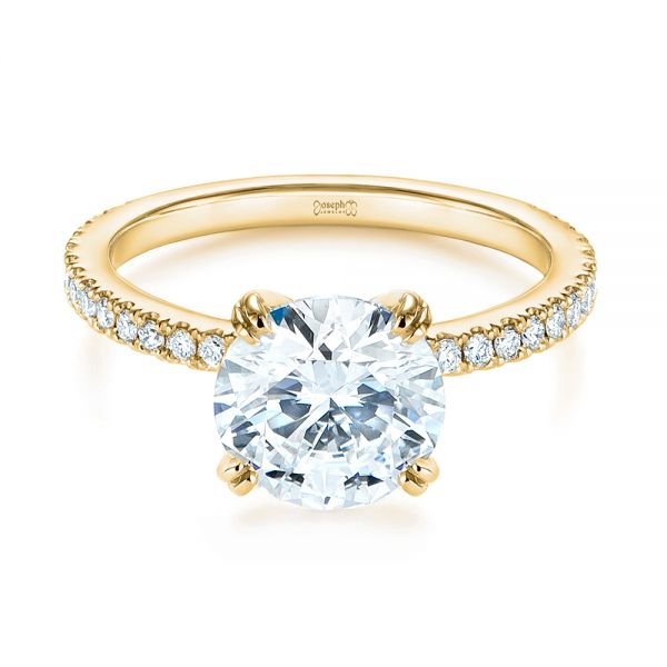 14k Yellow Gold 14k Yellow Gold Classic Double Claw Prong Diamond Engagement Ring - Flat View -  105847