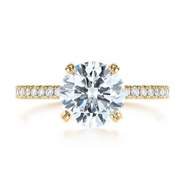 14k Yellow Gold 14k Yellow Gold Classic Double Claw Prong Diamond Engagement Ring - Top View -  105847