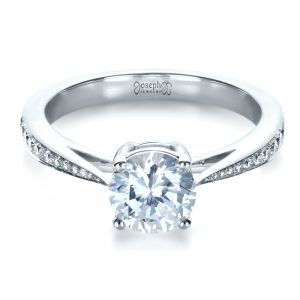 Classic Engagement Ring with Bright Cut Set Diamonds