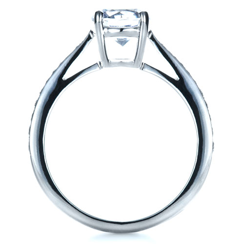 Classic Engagement Ring with Bright Cut Set Diamonds - Finger Through View