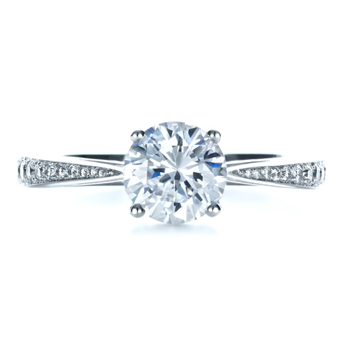 Classic Engagement Ring with Bright Cut Set Diamonds - Top View