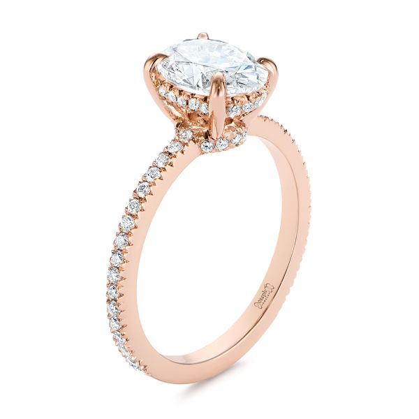 14k Rose Gold Classic Oval Diamond Engagement Ring - Three-Quarter View -