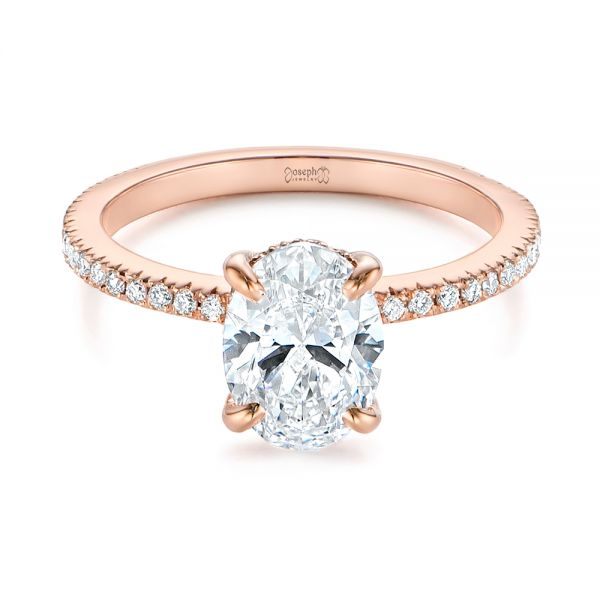 14k Rose Gold Classic Oval Diamond Engagement Ring - Flat View -  105741 - Thumbnail