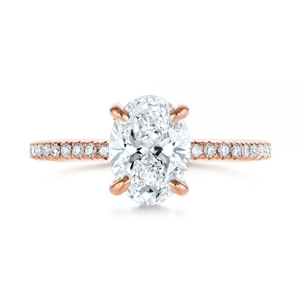 14k Rose Gold Classic Oval Diamond Engagement Ring - Top View -  105741 - Thumbnail