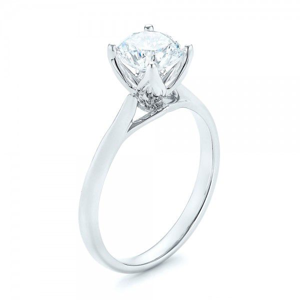 18k White Gold Classic Solitaire Engagement Ring - Three-Quarter View -  103103