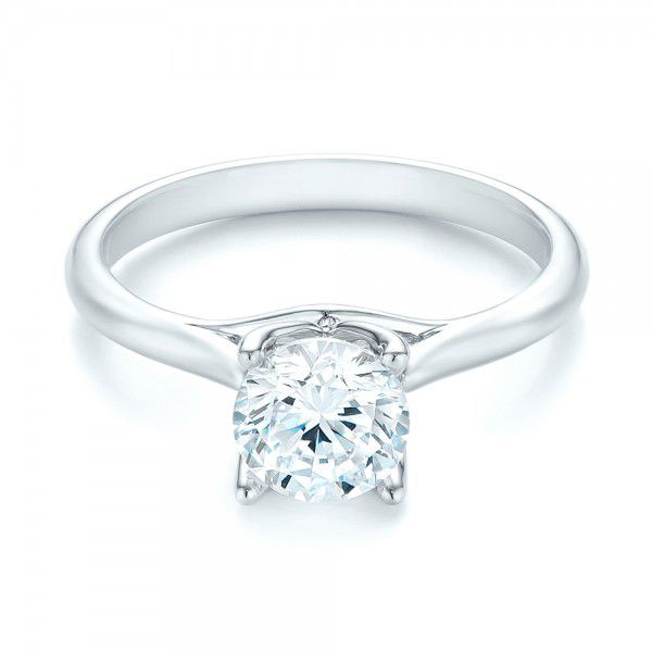 18k White Gold Classic Solitaire Engagement Ring - Flat View -  103103