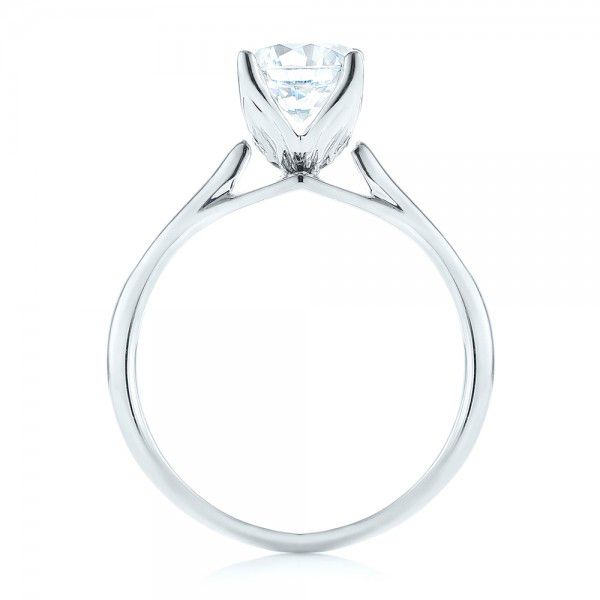 18k White Gold Classic Solitaire Engagement Ring - Front View -  103103
