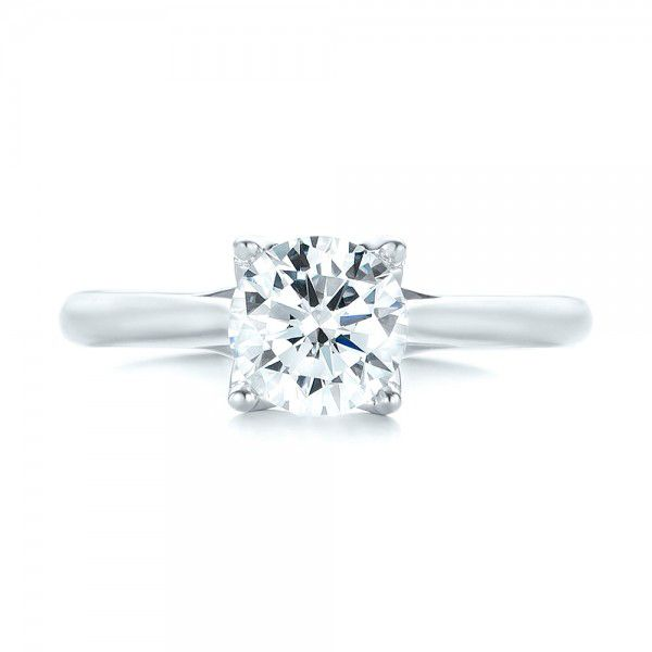 18k White Gold Classic Solitaire Engagement Ring - Top View -  103103