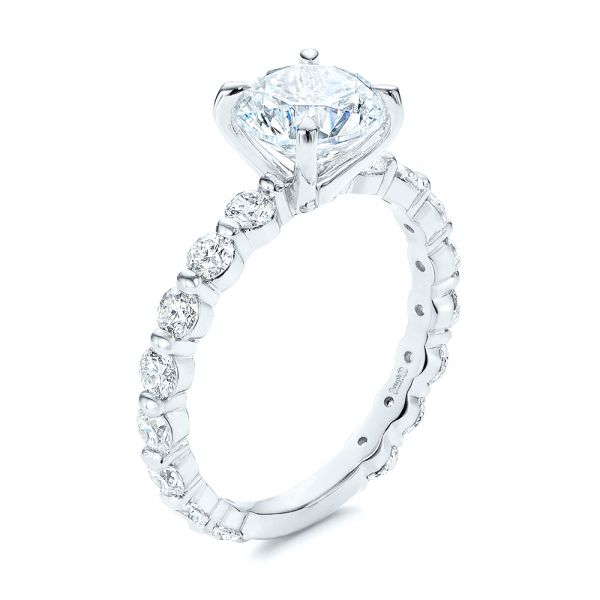 18k White Gold Claw Prong Classic Diamond Engagement Ring - Three-Quarter View -