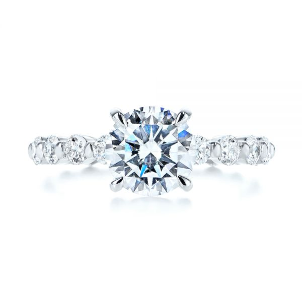 18k White Gold Claw Prong Classic Diamond Engagement Ring - Top View -  105816 - Thumbnail