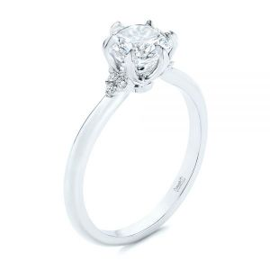Claw Prong Cluster Diamond Engagement Ring - Image