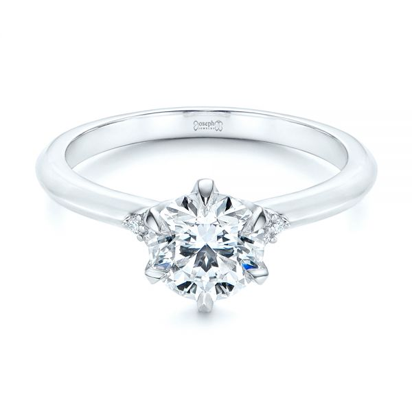 Platinum Claw Prong Cluster Diamond Engagement Ring - Flat View -  105854