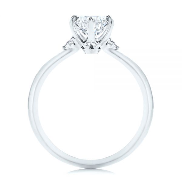 Platinum Claw Prong Cluster Diamond Engagement Ring - Front View -  105854