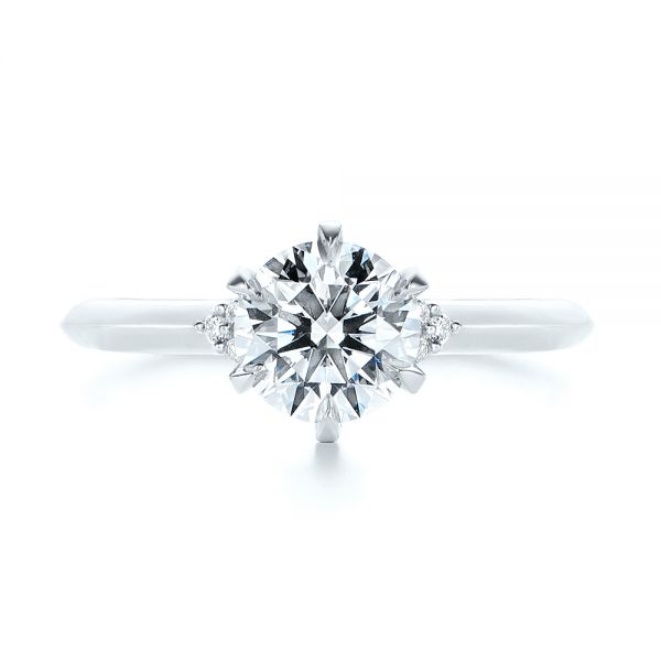 Platinum Claw Prong Cluster Diamond Engagement Ring - Top View -  105854