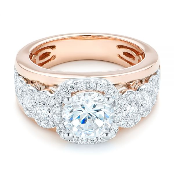 Cluster Bands: Cluster Diamonds And Halo Two-Tone Engagement Ring #102488