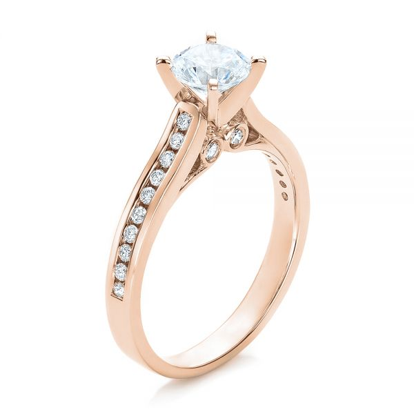 18k Rose Gold 18k Rose Gold Contemporary Channel Set Diamond Engagement Ring - Three-Quarter View -