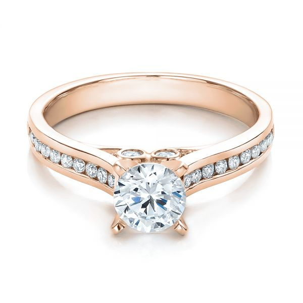 18k Rose Gold 18k Rose Gold Contemporary Channel Set Diamond Engagement Ring - Flat View -