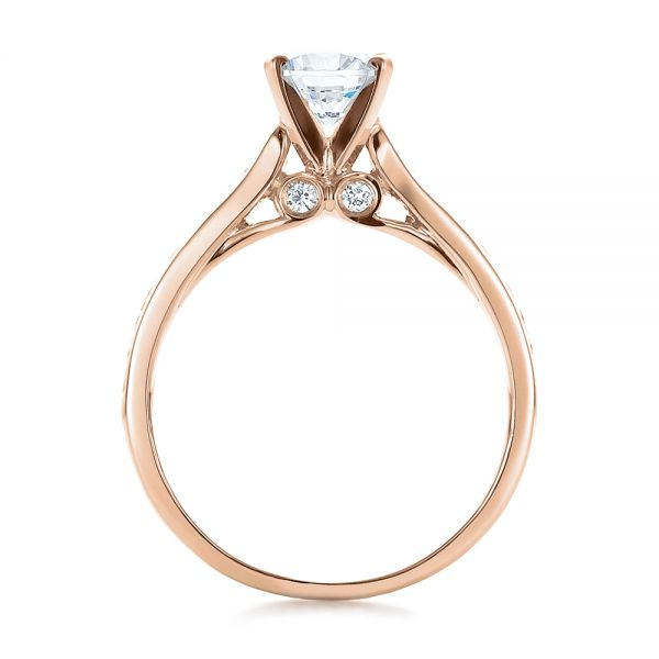 18k Rose Gold 18k Rose Gold Contemporary Channel Set Diamond Engagement Ring - Front View -
