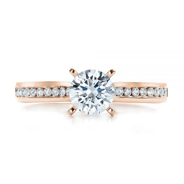 18k Rose Gold 18k Rose Gold Contemporary Channel Set Diamond Engagement Ring - Top View -
