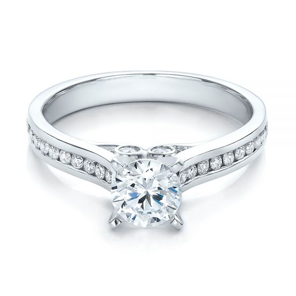 18k White Gold 18k White Gold Contemporary Channel Set Diamond Engagement Ring - Flat View -