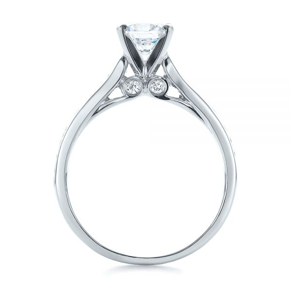 18k White Gold 18k White Gold Contemporary Channel Set Diamond Engagement Ring - Front View -
