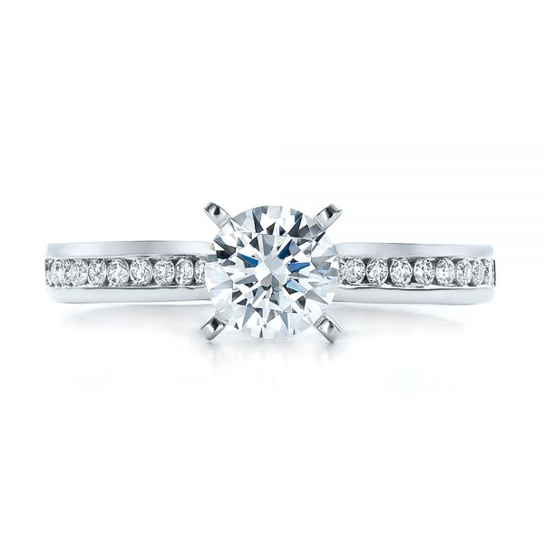 Contemporary Channel Set Diamond Engagement Ring - Image