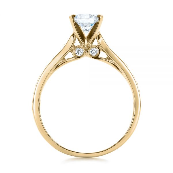 18k Yellow Gold 18k Yellow Gold Contemporary Channel Set Diamond Engagement Ring - Front View -  100405