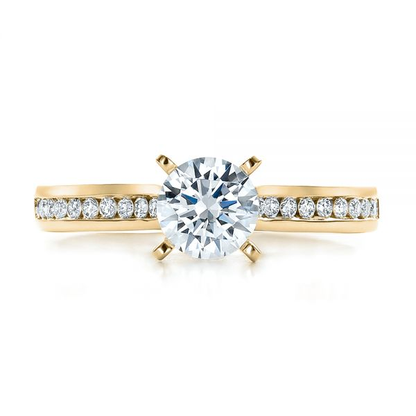 18k Yellow Gold 18k Yellow Gold Contemporary Channel Set Diamond Engagement Ring - Top View -  100405