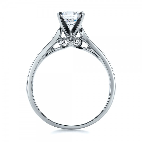 Contemporary Channel Set Diamond Engagement Ring - Finger Through View