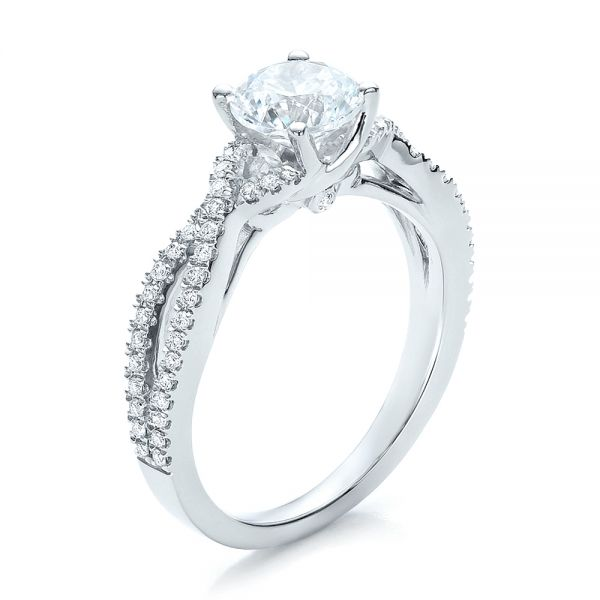 14k White Gold Contemporary Criss-cross Diamond Engagement Ring - Three-Quarter View -  100403