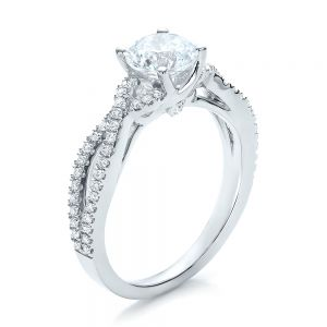 Contemporary Criss-Cross Diamond Engagement Ring - Image