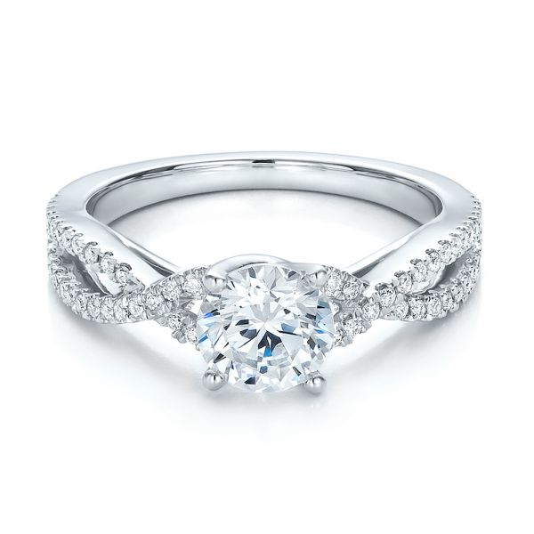 14k White Gold Contemporary Criss-cross Diamond Engagement Ring - Flat View -  100403